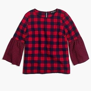 J Crew Flannel Bell Sleeve Top 2